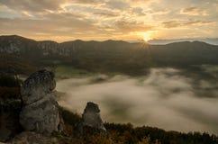 Panoramic autumnal view from Sulov rockies - sulovske skaly - Slovakia Royalty Free Stock Image