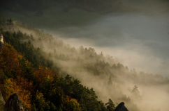 Panoramic autumnal view from Sulov rockies - sulovske skaly - Slovakia Royalty Free Stock Photos