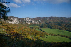 Panoramic autumnal view from Sulov rockies - sulovske skaly - Slovakia Royalty Free Stock Photography