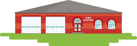 Panoramic background with fire station building in flat style. Stock Images