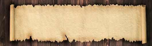 Old paper on the table as a background for text. Panoramic background of old paper. Unfolded scroll on the table royalty free stock photography