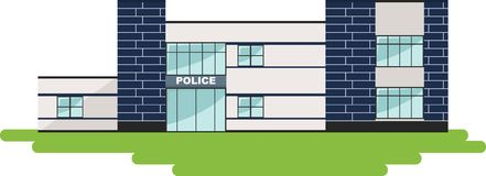 Panoramic background with police department building. Royalty Free Stock Image