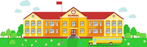 Panoramic background with school building and Royalty Free Stock Image