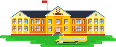Panoramic background with school building and Stock Photography