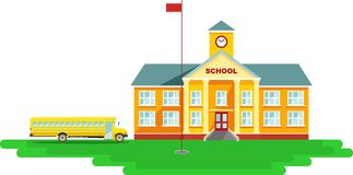 Panoramic background with school building and Royalty Free Stock Images