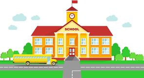 Panoramic background with school building and school bus in flat style Stock Images