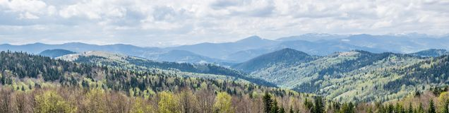 Carpathian Mountains wide panorama. A panoramic background with a view of the Carpathian Mountains in Eastern Europe, Ukraine. Mountain landscape under a cloudy stock photos
