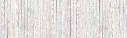 Panoramic background of white wooden texture, light planks as wa stock photo