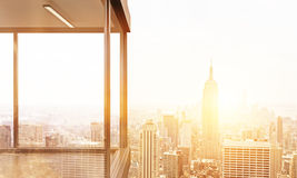 Panoramic balcony with NY view. Panoramic balcony design with New York city view. Toned image. 3D Rendering Royalty Free Stock Photos