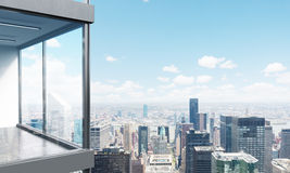 Panoramic balcony side. Side view of panoramic balcony with New York city view. 3D Rendering Royalty Free Stock Images
