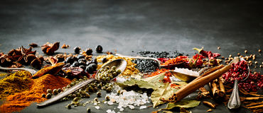 Panoramic banner of assorted spices. For Asian and Oriental cuisine with cinnamon, chili, curcuma, bay leaves, salt, acai and star anise with copy space above stock images