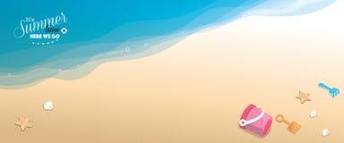 Panoramic banner beach vector background Stock Photos