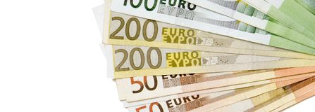 Panoramic Banner - Euro Banknotes isolated on White Background. Euro Banknotes isolated on White Background . Panoramic Banner with Lot of Copy Space Royalty Free Stock Images