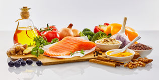 Panoramic banner with healthy food for the heart. Panoramic banner with fresh healthy food for the heart and cardiovascular system with nuts, herbs, salmon Royalty Free Stock Photography