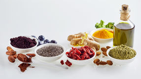 Panoramic banner of healthy superfoods Royalty Free Stock Photos