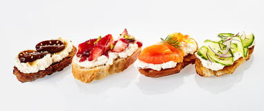 Panoramic banner of selected fresh canapes Royalty Free Stock Photography