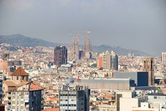 Panoramic of Barcelona Spain Stock Image