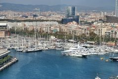 Panoramic of Barcelona Spain Royalty Free Stock Images