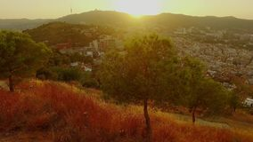 Panoramic Barcelona view from Tibidabo mountain stock video footage