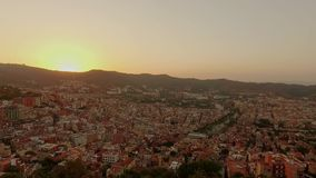 Panoramic Barcelona view from Tibidabo mountain stock video