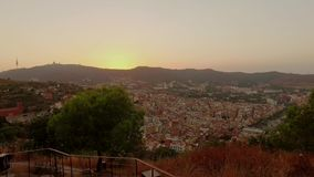 Panoramic Barcelona view from Tibidabo mountain stock footage