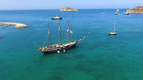 Panoramic of the bay and sailing boats in the Caribbean sea