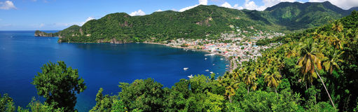 Panoramic of Bay of Soufriere Stock Images