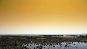 Panoramic of beach & reef Ebb,Sunset,dusk. stock footage