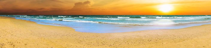 Panoramic Beach Sunset Stock Image