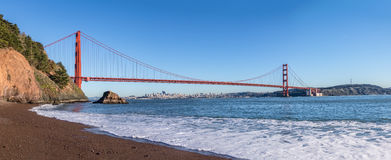 Panoramic Beach view of Golden Gate Bridge and city Skyline - San Francisco, California, USA Stock Photography