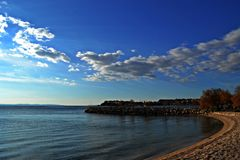 Panoramic beach view on the sea and sky. Landscape and nature photography Royalty Free Stock Photos