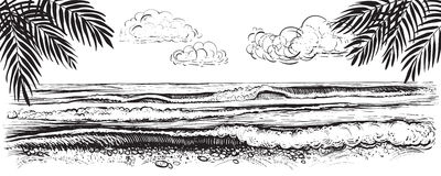 Panoramic beach view. Vector illustration of ocean or sea waves. Hand drawn. Stock Image