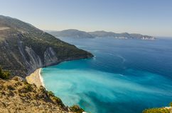Panoramic nuances of turquoise on the beach of Myrtos kefalonia. Panoramic of beaches on the island of Kefalonia. The one seen in the foreground is the Myrtos Stock Images