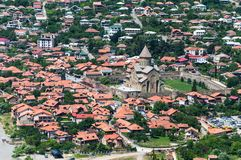 Panoramic beautiful aerial view of Mtskheta with the rivers Kura and Aragvi, Svetitskhoveli Cathedral and castle complex. In summer day in Mtskheta, Georgia Stock Image