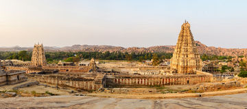 Panoramic of beautiful ancient ruins in Hampi Stock Images