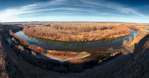 Panoramic beautiful nature landscape of ice debacle river Stock Images
