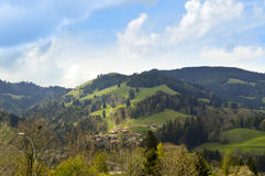 Panoramic beautiful view of Gruyeres. Switzerland, Europe Royalty Free Stock Photo