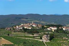 Panoramic beautiful view of Radda in Chianti province of Siena, Tuscany, Italy. stock photo