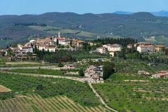 Panoramic beautiful view of Radda in Chianti province of Siena, Tuscany, Italy. stock photography