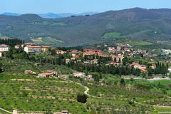 Panoramic beautiful view of residential areas Radda in Chianti province of Siena, Tuscany, Italy. stock image