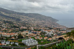 Panoramic beautiful views of Funchal from the pico dos barcelos, Madeira island, Portugal Stock Photography