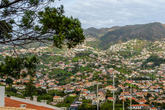 Panoramic beautiful views of Funchal from the pico dos barcelos, Madeira island, Portugal Royalty Free Stock Photography
