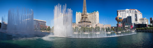 Panoramic Bellagio fountains, Las Vegas Royalty Free Stock Photography