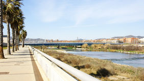 Panoramic of the Besos River stock photos