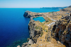 Panoramic bird eye aerial view at Saint Paul Bay at Lindos on the island of Rhodes stock photography
