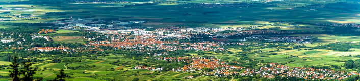 Panoramic bird fly view to Alsace Royalty Free Stock Images