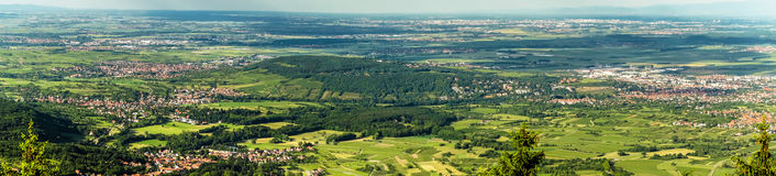 Panoramic bird fly view to Alsace Stock Image
