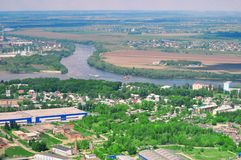 Panoramic bird`s-eye view of the natural landscape: river, fields royalty free stock photos