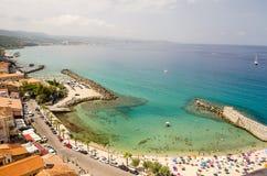 Panoramic bird-view of Pizzo Calabro coastline Royalty Free Stock Photos