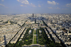 Panoramic birdview of Paris. View of Paris from Eiffel tower, France Royalty Free Stock Photo